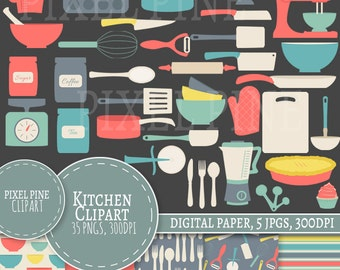 Kitchen Clipart Set, Red Dining set 35 PNGs, 5 Kitchen Digital Paper JPGs, Commercial Use, Retro baking clipart, kitchen utensils clip art
