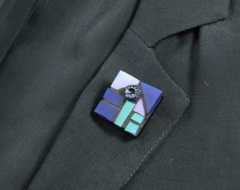Square Blue Brooch, Mosaic Brooch, Handmade Brooch, Blue Mosaic Brooch, Blue Brooch, Square Brooch, Wearable Art Brooch, Millefiori Brooch