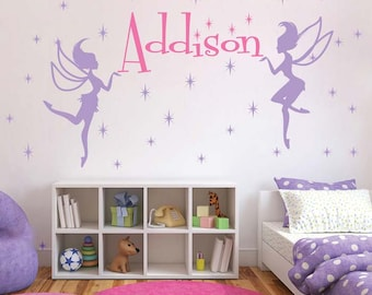 Fairy Wall Decal, Girls Bedroom Fairies, Sparkly Princess Walls, Bedroom Fairy Decals, Custom Name Decals, Girls Bedroom Mural Decals, s70