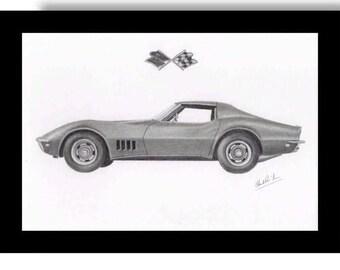 Pencil drawing of a 1968 Chevrolet Corvette