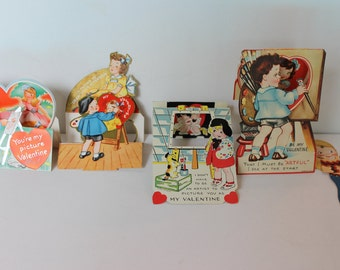 4 Vintage Artist Valentines 1940s One Mechanical Die Cut Craft Painter Art antique valentine cards