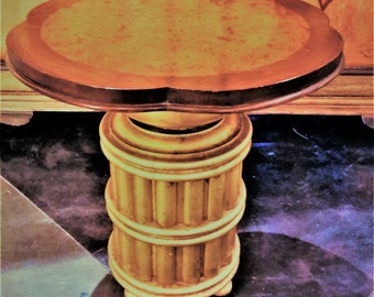 Mid Century Furniture Accent Side Table By American of Chicago 1960's Faux Bamboo Wood Gold Leaf Base Burled Wood Top