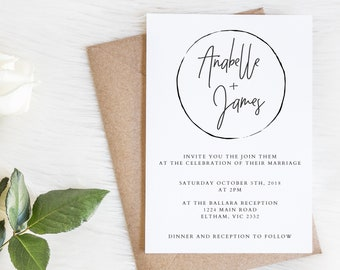 CIRCLE SUITE - Wedding invitations set - Wedding invitation minimal - Printable wedding invite suite - RSVP wishing well save the date menu