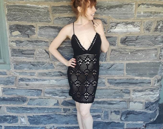 BLACK CROCHET DRESS, beach cover up, Crochet dress, , naked dress, sheer crochet dress, bikini cover, festival, hippie, boho crochet dress