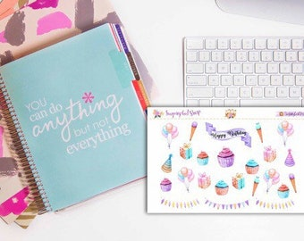 Watercolor Birthday Sticker Set