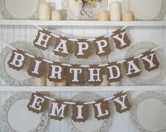Custom Name HAPPY BIRTHDAY  Banner, Birthday Sign, Birthday Decoration, Custom Name Banner, Happy Birthday Sign