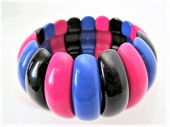 Black Pink Bangle,  Wide Layered, Bright Colors, Stretch Bracelet