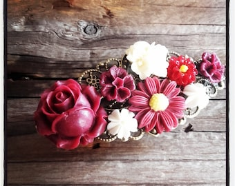 Burgundy and ivory flowers hair clip, wedding, vintage wedding hair accessory