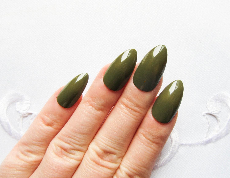 Dark Green Stiletto Nails / Fake Nails / Press on Nails /