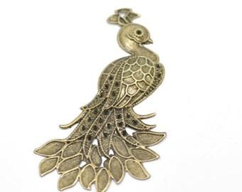Color Bronze 7x4.2cm Peacock pendant
