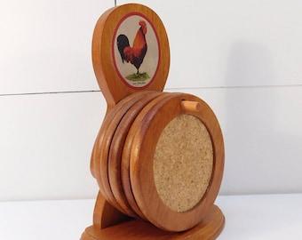 Vintage Rooster Coaster Set, Farmhouse Decor, Farm Kitchen, Bob Timberlake Heritage Home Decor