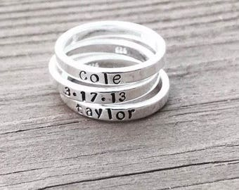 Personalized Stackable Sterling Silver Hand Stamped Name Rings
