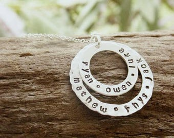 Hand Stamped Silver Double Circle Washer Necklace with Kids Names