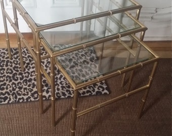 SALE Faux Bamboo Nesting Table/ Glass Tops