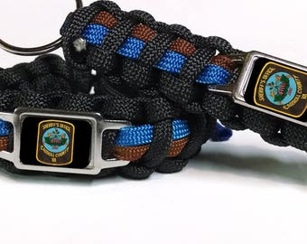 "Thin Blue Line ""Sheriff's Edition"" Carroll County Sheriff's Office Virginia VA CCSO Paracord Survival Bracelet"