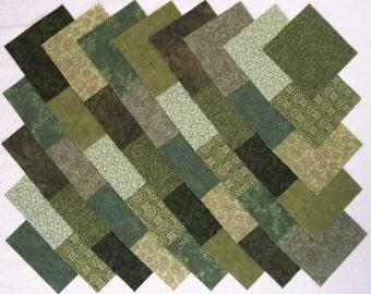 GREEN Prints 4 inch Squares, 100% Cotton Prewashed,  Quilt Block Fabric  (#A/9C)