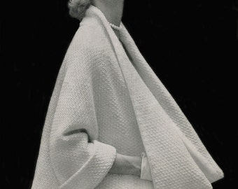 KNITTING PATTERN Vintage 1950s Cape Coat Instant Download PDF