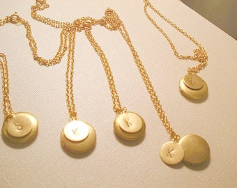 Gold Locket Necklaces Set of Five Personalized Jewelry Hand Stamped Gold Chain Initial of Choice Wedding Bridesmaids Gift
