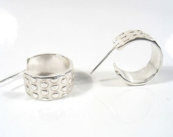 Sterling silver dots hoops.Available shiny  or oxidized, industrial look.