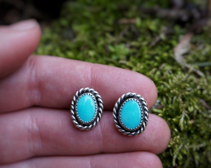 Turquoise Studs, Turquoise Stud Earrings, Turquoise Earrings, Turquoise Sterling Silver Earrings, Turquoise Silver Studs