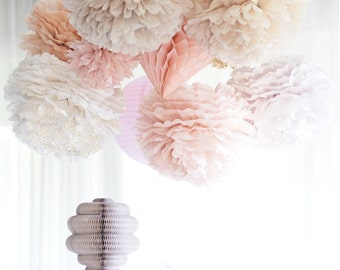 Dusty blush.. 16 mixed size Tissue paper Pom Poms set - dusty pink Weddings - Party decorations - Bridal Shower Birthday Nursery Decor