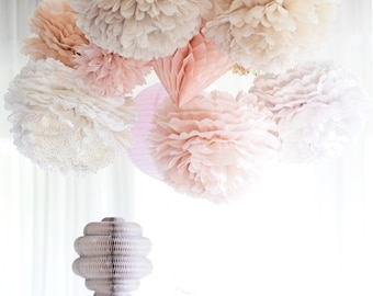 Dusty blush.. 6 mixed size Tissue paper  Pom Poms set  Wedding  Party Bridal Shower Birthday Nursery Decorations