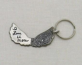 Angel Wing Keychain, Fingerprint Keychain, Handwriting Keychain, Dar Silver Angel Wing Keychain with Fingerprint and Handwriting, Men's Gift