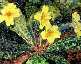 Primroses -  Signed Fine Art Giclée Print.- original collage print, flowers, yellow, green, contemporary fine art print.