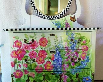 Painted Furniture/ Painted Dresser/ Hand Painted Furniture/ Hand Painted Dresser/ Whimsical Painted Dresser/ Girls Dresser