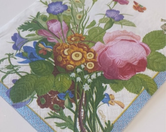 Decoupage Paper Napkins, Floral Napkins, Lunch Napkin, Wild Flowers, Collage, Craft, Scrapbooking, Paper Craft