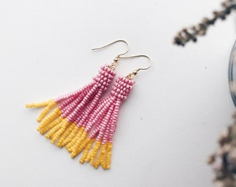 Beaded tassel earrings - Pink and yellow
