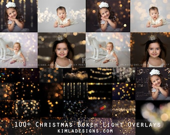100+ Christmas Gold Bokeh Photo Overlays for Photographers + Free Gift
