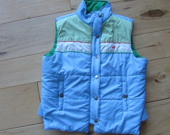 J.J. Basics Vintage Winter Vest Blue Green Size Large Youth or Small Woman
