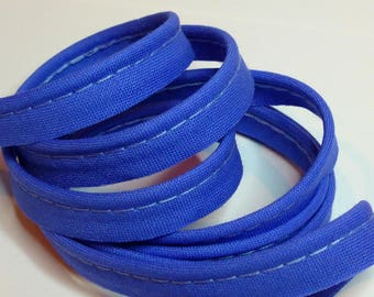 4 m of Greek blue cotton piping - snorkel blue 10mm