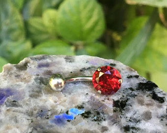 Belly Button Ring, Belly Ring, Belly Piercing, Body Jewelry, Body Piercing, Navel Piercing, Navel Ring, Red Crystal
