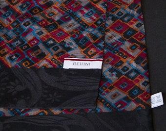 Bettini 100% Silk Luxury Lined Vintage Mens Scarf | Geometric Pattern Silk Vintage Scarf