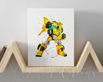 Transformers Bumblebee Gallery Wrapped Canvas Art Print, Rescue Bots Superhero Watercolor Nursery Art, Boys Superhero Bedroom Art, No. 36