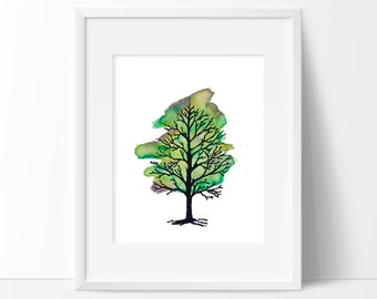 Watercolor Tree [Spring]—custom size print, watercolor painting + digital illustration