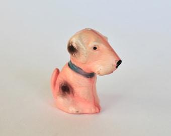 Vintage 1940's Pink Dog Chalkware Carnival Prize Figurine!