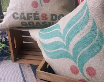 "Euro Burlap Coffee Sack Pillows from Brazil/Brasil - Handmade size 26""x26"""