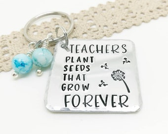Teacher Gift , Handstamped teachers keyring, End Of Term Gift, Teacher appreciation gift, Teacher assistant gift,  gift, Valentines