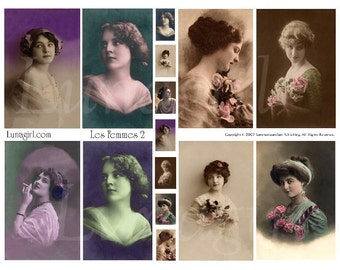 VINTAGE PHOTOS WOMEN digital collage sheet, Victorian ladies tinted French postcards, pendants inchies charms, altered art ephemera Download