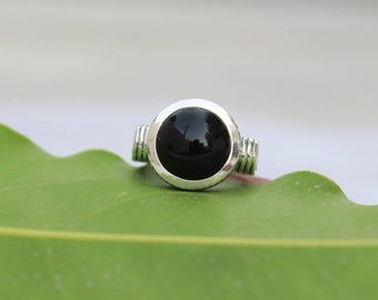 Natural Black Onyx In Handmade Sterling Silver Ring 92.5 Sterling Silver Ring