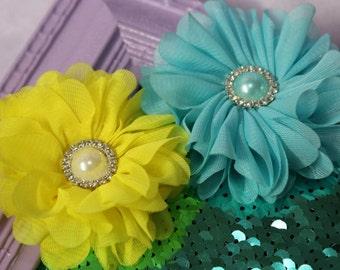 "3"" Canary Yellow/Aqua/Ivory/Coffee Shabby Chiffon Flowers with Pearl/Rhinestone Buttons"
