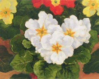 Small floral oil painting of Primroses by Dotty Hawthorne
