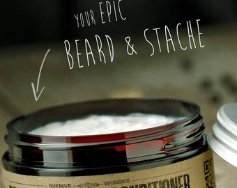 BEARD & STACHE CONDITIONER - Vanilla Pepper Sandalwood~organic beard conditioner~beard care~mens care~facial hair beard softener~for him