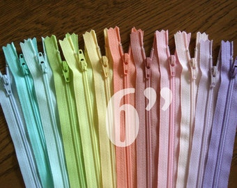 """pastel zippers colorful zippers wholesale zippers nylon zippers 6 inch zippers ykk zippers assorted zippers 6"""" zippers - 12 pieces NYL06"""