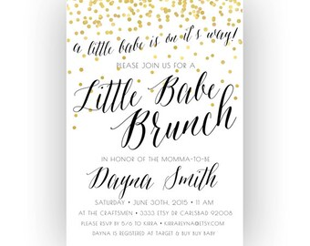 Baby Shower Brunch Invitation, Little Babe, Unique, Boho, Gold Glitter, Printable (204)
