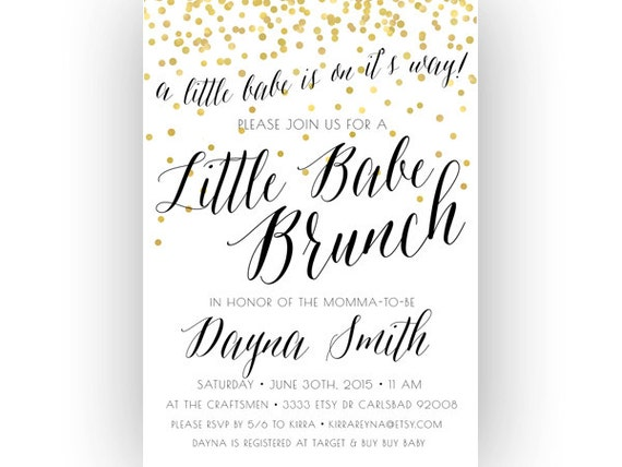 Baby Shower Brunch Invitation Little Babe Unique Boho Gold