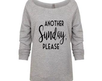 Another Sunday, Please - Raw edge Slouchy 3/4 sleeve off shoulder lightweight sweatshirt - Women's Shirt